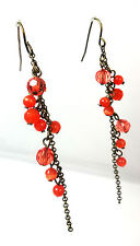 ELEGANT BRONZE RED EARRINGS MULTI LAYER MULTI TASSEL BRAND NEW UNIQUE (A13)