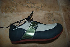 New Black Leather & Beige Canvas TERRA PLANA Low Laced Shoes 8