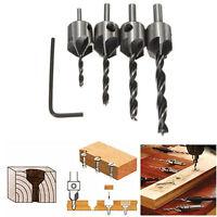 4pcs HSS 5 Flute Countersink Drill Bit Set Screw Woodworking Chamfer Tool 3-6mm