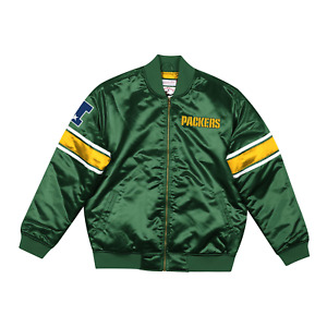 Men's Mitchell & Ness Dark Green NFL Green Bay Packers Heavyweight Satin Jacket