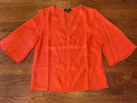 J. Crew 365 Women's Size Small V Neck Coral Orange Top Blouse 100% Silk