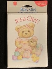 It's a Girl! Pink Teddy Bear Vintage American Greetings Birth Announcement Cards