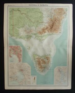 Antique Map: Victoria & Tasmania by John Bartholomew, Times Atlas, 1920