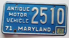 Maryland 1973 ANTIQUE MOTOR VEHICLE License Plate # 2510