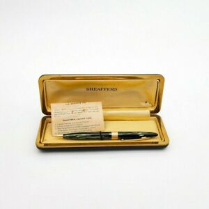Vintage Sheaffer green striated mechanical pencil with gold accents original box
