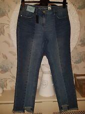 BNWT £32 NEXT Boyfit mid rise rigid denim blue raw cut ankle jeans UK 10R