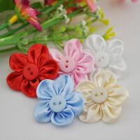 20PCS Satin Ribbon Flowers Bows w/button Sewing Wedding Craft Appliques E04