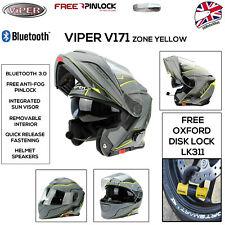 VIPER RS-V171 BLUETOOTH MODULAR HELMET MOTORCYCLE BIKE FLIP UP HI-VIS BRAND NEW