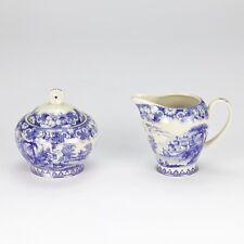 Vintage antique Blue white ornate Sugar & Creamer set high tea  floral porcelain