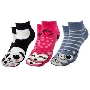 3pk Womens Kids Ankle Slipper Socks Non Slip Non Skid Fuzzy Cozy House Winter