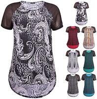 Womens Plus Size Top Check Print Chiffon Short Sleeve Ladies Uneven Hem T-Shirt