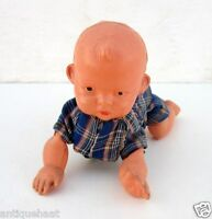1940 Rare Vintage Old Wind Up Baby Crawling Toddler Celluloid Working Toy Japan