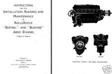 Rolls-Royce Kestrel Buzzard Engine Manual V-12 aero 1920-30's pre Type R S6 S6B