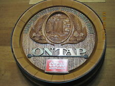 """New Coors On Tap End Of Beer Keg Rockies Approx 16"""" Round Wall Display"""