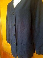 Womens Blue Navy LANDS END Linen Coat Women Medium m 10 12 3/4 sleeve length