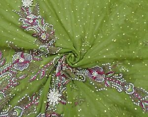Vintage Net Saree Green Embroidered Ethnic Wear Heavy Indian Floral Sari MSI156