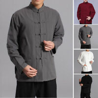 Chinese Style Cotton Linen Tops Casual Blouse Mens Long Sleeve Kung Fu Shirts J1
