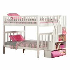 Leo & Lacey Full Over Full Staircase Bunk Bed in White