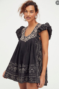 Free People Cutie Pie Romper Floral Embroidery Lace Trim Neckline Black XL New
