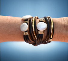 Large Coin Pearls and Gold-Filled Bars Handmade Leather Wrap Bracelet with Three