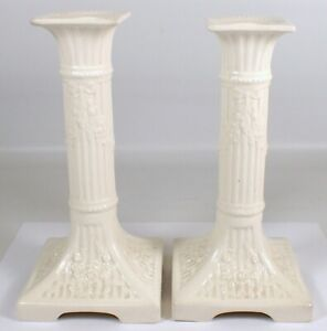 PAIR Antique Vtg Max Roesler Germany White Porcelain Column Candlestick Holders