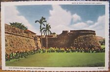 Philippines Postcard OLD SPANISH WALL Manila Fort History Deckled Edge Linen