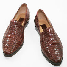 FLINGS Loafers Moccasins Brown Woven Leather Brazil Size 5.5 Medium