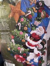 Bucilla Santa FINISHING TOUCH Felt Christmas Stocking Kit 18