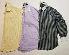 Lot of 3 Dress Shirts Button Down Shirts Button Front Mens Size 18 36-37 EUC