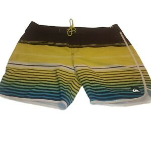 Quicksilver Mens Yellow and Blue Striped Dry Flight Board Shorts Sz 40 by 8