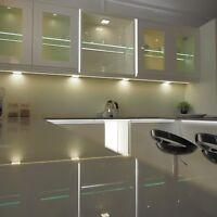 3 X SQUARE KITCHEN LIGHT SLIM FLAT PANEL UNDER CABINET CUPBOARD WARM WHITE LED