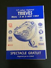 PROGRAMME RALLYE DU TRIEVES 1997 MENS + CLASSEMENT GENERAL OFFICIELLE 1ERE ETAPE