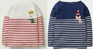 Mini Boden festive Breton tops girls snowman stripe top shirt NEW Xmas age 9 -10