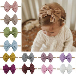 Baby Girls Headband Kids Ribbed Bow-Knot Rabbit Elastic Bow Hair band Soft