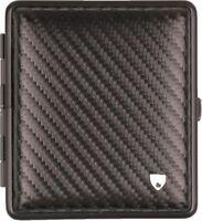 Zigarettenetui Leder Carbonoptik schwarz,Rahmen schwarz 18er mit Gummiband