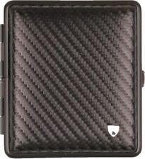 Zigarettenetui Leder Carbonoptik schwarz,Rahmen schwarz 85mm 18er mit Gummiband