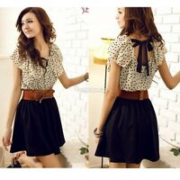Korean Women Short Sleeve Dots Polka Waist Chiffon Mini Dress Skirt New Fashion
