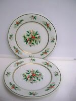 "2 NORITAKE CHRISTMAS HOLIDAY DINNER PLATES #2228 ""HOLLY"" 10 1/2 ''"