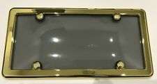 UNBREAKABLE Tinted Smoke License Plate Shield Cover + GOLD Frame for TESLA