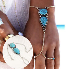 Ring Bracelet Hand Harness Jewelry Women Fashion Boho Turquoise Slave Chain