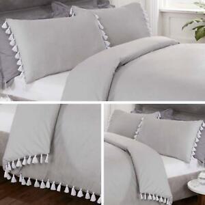 Grey Duvet White Tassel Cover Set Luxury Cotton Bedding Sheets King Boho