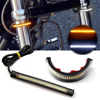2x W/A Switchback LED Fork Turn Signal Daytime For Motorcycle DRL Light Strips