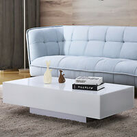 "Modern 45"" High Gloss Coffee Table End Side Table White Living Room Furniture"