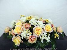Memorial Cemetery Silk Flower Headstone/Tombstone Saddle/Grave Pillow