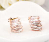 Women's 18K Rose Gold GF Stunning Crystal Ear Stud / Clip on Earrings Jewelry