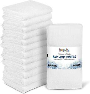 "12 Kitchen Bar Mop Towels Cleaning Towels 16x19"" Car Wash Towels 100% Cotton"
