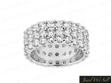 Ring 14k White Gold F Vs2 Prong Natural 3.90Ct Round Diamond 3-Row Eternity Band