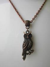Owl  Antique copper tone Charm Pendant  Necklace Steampunk Vintage fancy gift