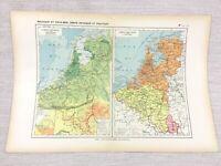1888 Antik Map Of Belgien Holland Politische Physikalisch French Original 19th C