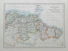 1895 map 'Venezuela & Three Guianas' by W & A K Johnston